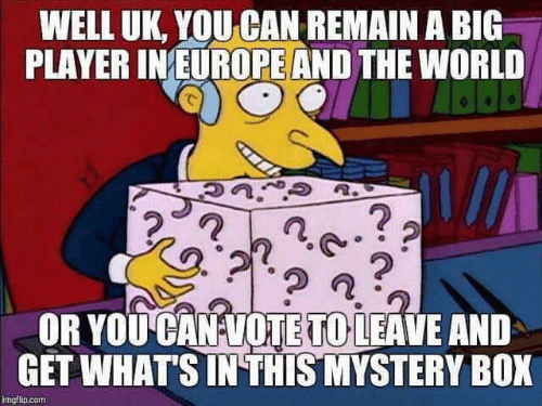Europe, World, and Mystery: WELL UK, YOU CAN REMAIN A BIG  PLAYER IN EUROPE AND THE WORLD  2  2  OR YOU CAN VOTETO LEAVE AND  GET WHAT'S IN THIS-MYSTERY BOX  imgflp.com