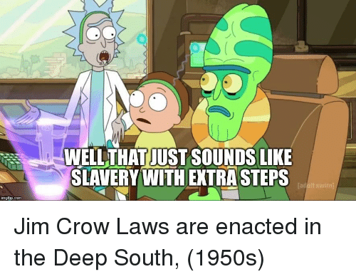 Com, Deep, and Jim Crow: WELLTHAT JUST SOUNDS LIKE  SLAVERY WITH EXTRA STEPS  Tad  imgfip.com Jim Crow Laws are enacted in the Deep South, (1950s)