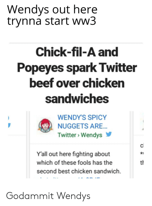 Wendys Out Here Trynna Start Ww3 Chick-Fil-A and Popeyes