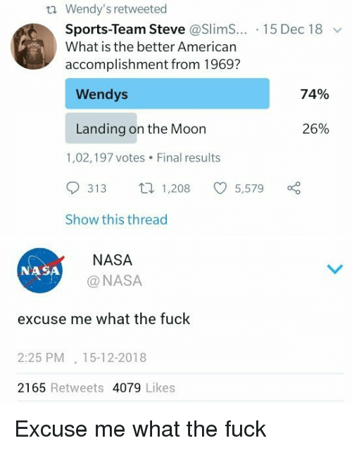 Nasa, Sports, and Wendys: Wendy's retweeted  Sports-Team Steve @SlimS...-1 5 Dec 1 8  What is the better American  accomplishment from 1969?  Wendys  74%  Landing on the Moon  26%  1,02,197 votes Final results  313  1,208  5,579  Show this thread  NASA  @NASA  NASA  excuse me what the fuck  2:25 PM. 15-12-2018  2165 Retweets 4079 Likes Excuse me what the fuck