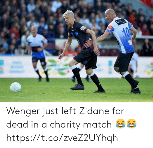 Soccer, Match, and Zidane: Wenger just left Zidane for dead in a charity match 😂😂 https://t.co/zveZ2UYhqh