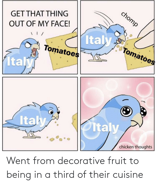 Fruit, Went, and Their: Went from decorative fruit to being in a third of their cuisine