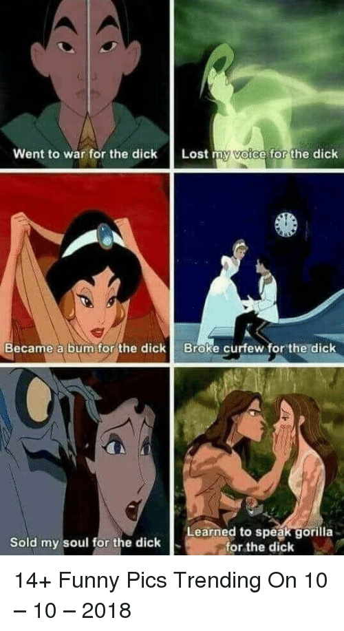Funny, Lost, and Dick: Went to war for the dick Lost my voice for the dick  Became a bum for the dick  Broke curfew for the dick  Sold my soul for the dick  Learned to speak gorilla  for the dick 14+ Funny Pics Trending On 10 – 10 – 2018