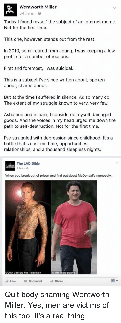 wentworth miller 54 mins today i found myself the subject 2069338 ✅ 25 best memes about wentworth miller wentworth miller memes