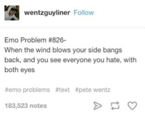 Emo, Pete Wentz, and Text: wentzguyliner Follow  Emo Problem #826-  When the wind blows your side bangs  back, and you see everyone you hate, with  both eyes  #emo problems #text #pete wentz  183,523 notes