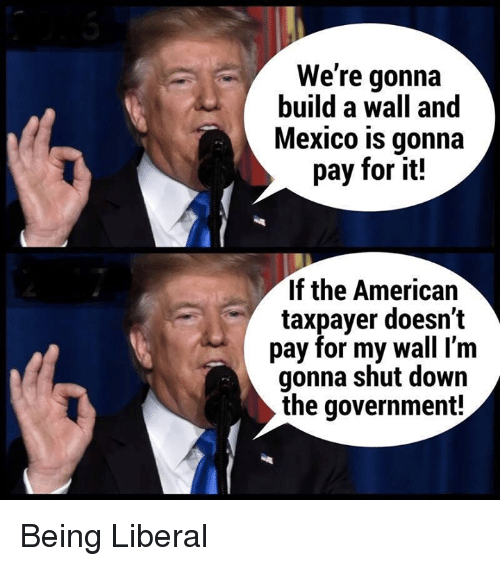 American, Mexico, and Government: We're gonna  build a wall and  Mexico is gonna  pay for it!  If the American  taxpayer doesn't  pay for my wall I'm  gonna shut down  the government! Being Liberal