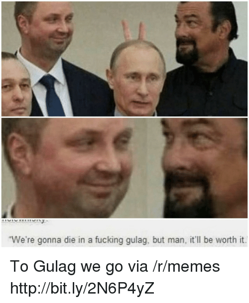 Fucking, Memes, and Http: We're gonna die in a fucking gulag, but man, it'll be worth it To Gulag we go via /r/memes http://bit.ly/2N6P4yZ