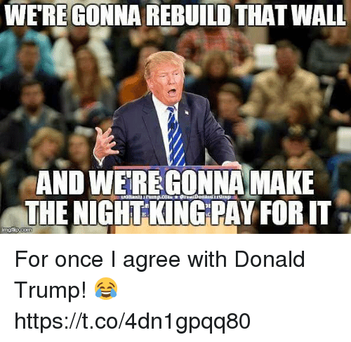 Donald Trump, Trump, and Once: WERE GONNA REBUILD THAT WALL  AND WEREGONNA MAKE  THE NIGHT KING PAY FOR IT  uonardjarump.con restDoGeurump For once I agree with Donald Trump! 😂 https://t.co/4dn1gpqq80