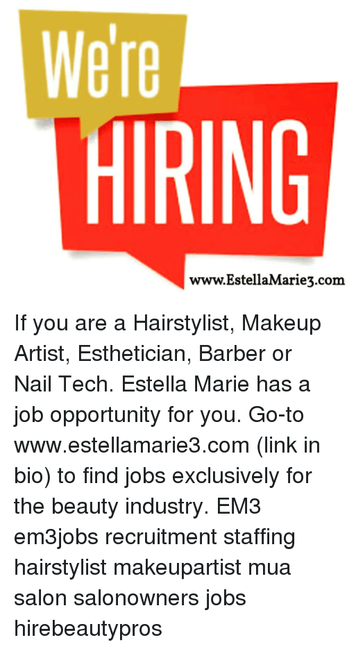 We're HIRING wwwEstellaMarie3com if You Are a Hairstylist