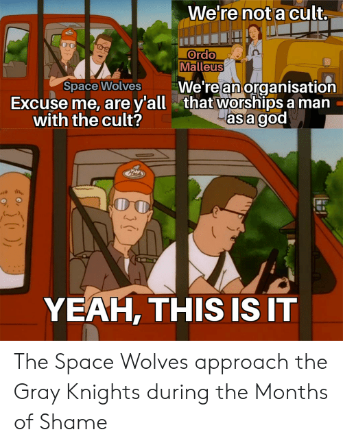God, Yeah, and Space: We're not a cult.  Ordo  Malleus  We're an organisation  that worships a man  asa god  Space Wolves  Excuse me, are ya  with the cult?  YEAH, THIS IS IT The Space Wolves approach the Gray Knights during the Months of Shame