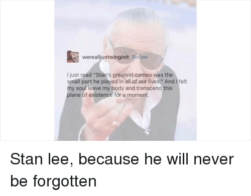 """Stan, Stan Lee, and Never: werealljustwinginit Follow  I just read """"Stan's greatest cameo was the  small part he played in all of our lives"""" And I felt  my souf leave my body and transcend this  plane of existence for a moment."""