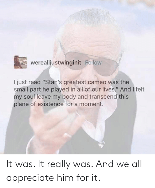 """Appreciate, Soul, and Him: werealljustwinginit Follow  I just read """"Stan's greatest cameo was the  small part he played in all of our lives."""" And I felt  my soul leave my body and transcend this  plane of existence for a moment. It was. It really was. And we all appreciate him for it."""