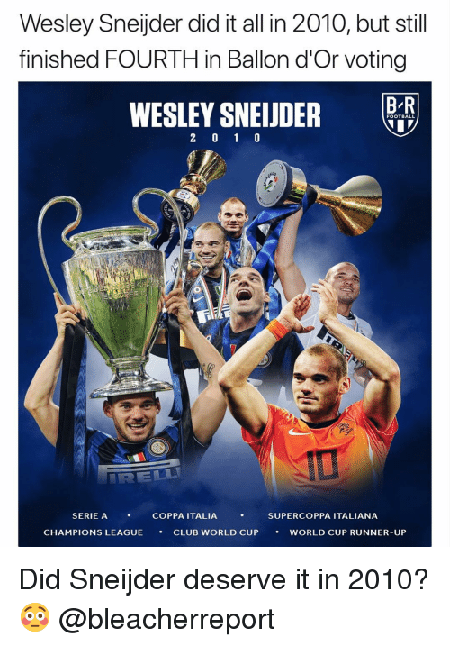 Club, Football, and Memes: Wesley Sneijder did it all in 2010, but still  finished FOURTH in Ballon d'Or voting  B R  FOOTBALL  SERIE A  , COPPA ITALIA ,  SUPERCOPPA ITALIANA  CHAMPIONS LEAGUE  CLUB WORLD CUP  ·  WORLD CUP RUNNER-UP Did Sneijder deserve it in 2010? 😳 @bleacherreport