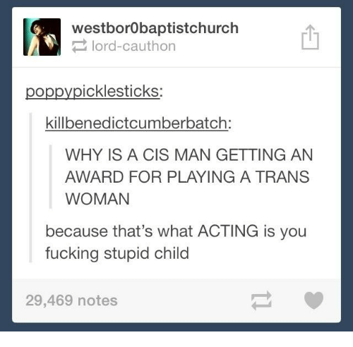Tumblr, Poppies, and Poppy: westborobaptistchurch  lord Cauthon  poppy icklesticks  killbenedictcumberbatch:  WHY IS A CIS MAN GETTING AN  AWARD FOR PLAYING A TRANS  WOMAN  because that's what ACTING is you  fucking stupid child  29,469 notes