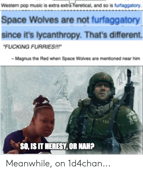 Fucking, Music, and Pop: Western pop music is extra extra heretical, and so is furfaggatory.  Space Wolves are not furfaggatory  since it's lycanthropy. That's differ  ent.  FUCKING FURRIES!!!  Magnus the Red when Space Wolves are mentioned near him  412  SO, IS IT HERESY, OR NAHP Meanwhile, on 1d4chan...