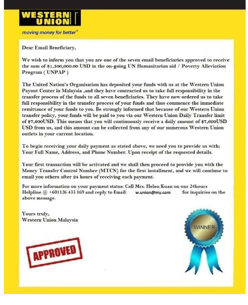 WESTERN UNION Moving Money for Better Dear Email Beneficiary