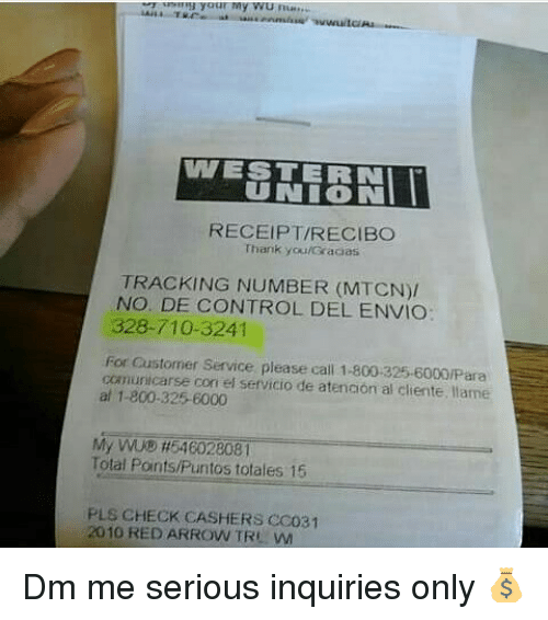 WESTERN UNION RECEIPTRECIBO Thank youGracias TRACKING NUMBER MTCN NO