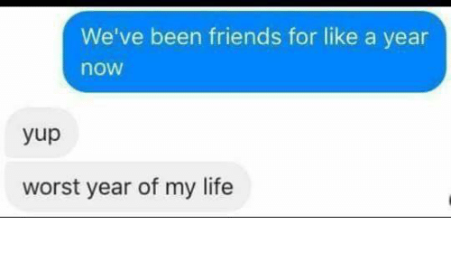 Memes, 🤖, and Worst: We've been friends for like a year  nOW  yup  worst year of my life