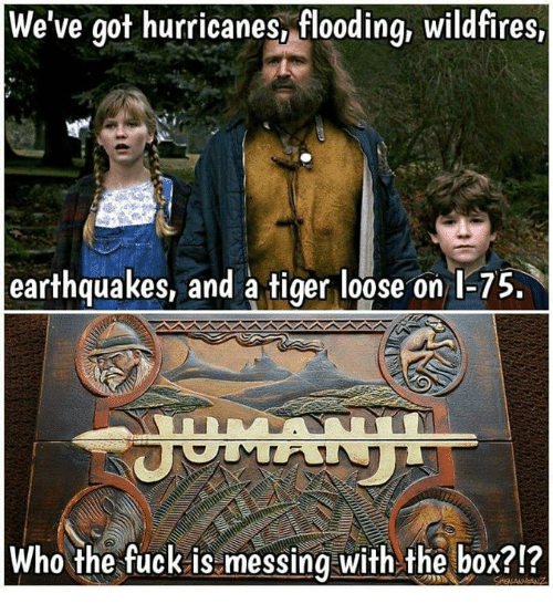 Boxing, Fucking, and Memes: We've got hurricanes, flooding, wildfires,  earthquakes, and a tiger loose on l-75  Who the fuck is messing with the box?!?