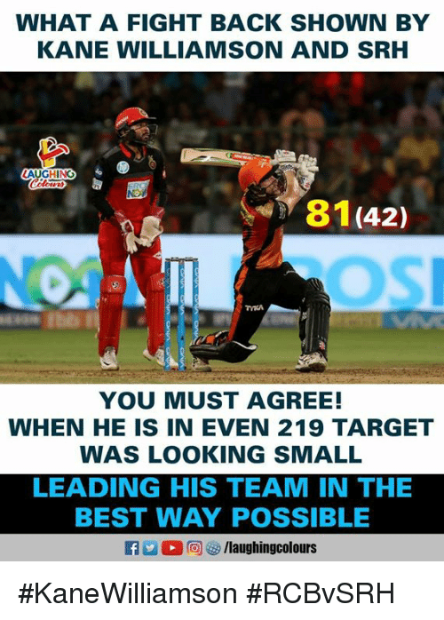 Target, Best, and Indianpeoplefacebook: WHAT A FIGHT BACK SHOWN BY  KANE WILLIAMSON AND SRH  AUGHING  81(42)  YOU MUST AGREE!  WHEN HE IS IN EVEN 219 TARGET  WAS LOOKING SMALL  LEADING HIS TEAM IN THE  BEST WAY POSSIBLE #KaneWilliamson #RCBvSRH