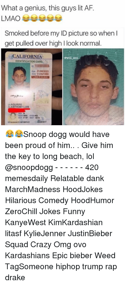 Memes, Genius, and Lit AF: What a genius, this guys lit AF.  LMAO  Smoked before my ID picture so when I  get pulled over high l look normal  CALIFORNIA  Gwill ent  IDENTIFICATION CARO  01/06/2023  UNAGUIRRE  ANTHONY LUIS 😂😂Snoop dogg would have been proud of him.. . Give him the key to long beach, lol @snoopdogg - - - - - - 420 memesdaily Relatable dank MarchMadness HoodJokes Hilarious Comedy HoodHumor ZeroChill Jokes Funny KanyeWest KimKardashian litasf KylieJenner JustinBieber Squad Crazy Omg ovo Kardashians Epic bieber Weed TagSomeone hiphop trump rap drake