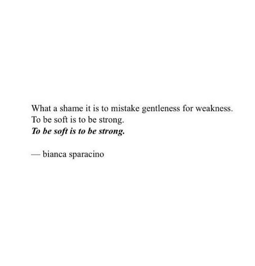 Strong, Shame, and What: What a shame it is to mistake gentleness for weakness.  To be soft is to be strong  To be soft is to be strong.  - bianca sparacino