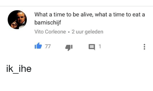 Alive, Time, and Dutch Language: What a time to be alive, what a time to eat a  bamischijf  Vito Corleone 2 uur geleden  77  1