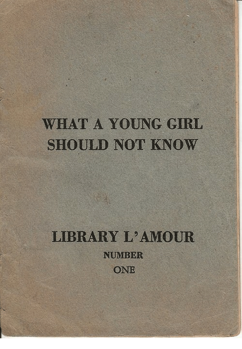Girl, Library, and One: WHAT A YOUNG GIRL  SHOULD NOT KNOW  LIBRARY L'AMOUR  NUMBER  ONE