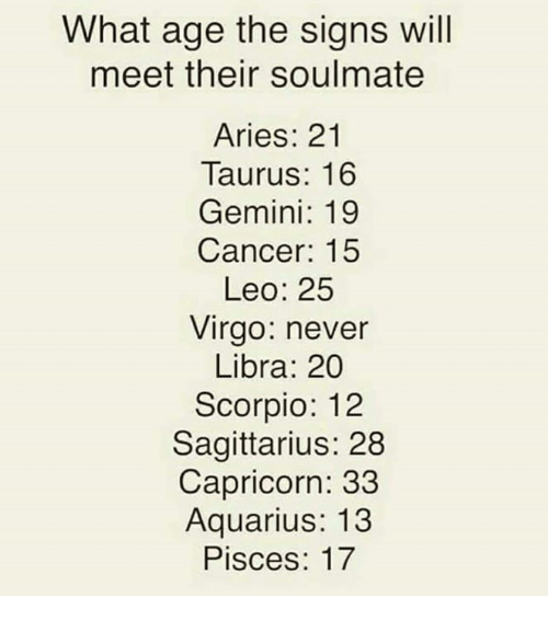 What Age the Signs Will Meet Their Soulmate Aries 21 Taurus 16