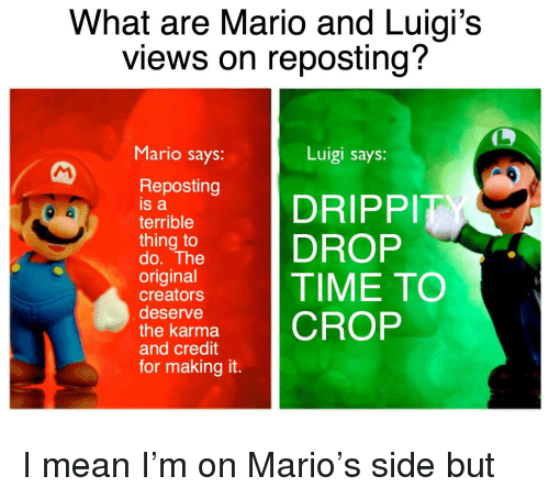 What Are Mario And Luigi S Views On Reposting Mario Says Luigi