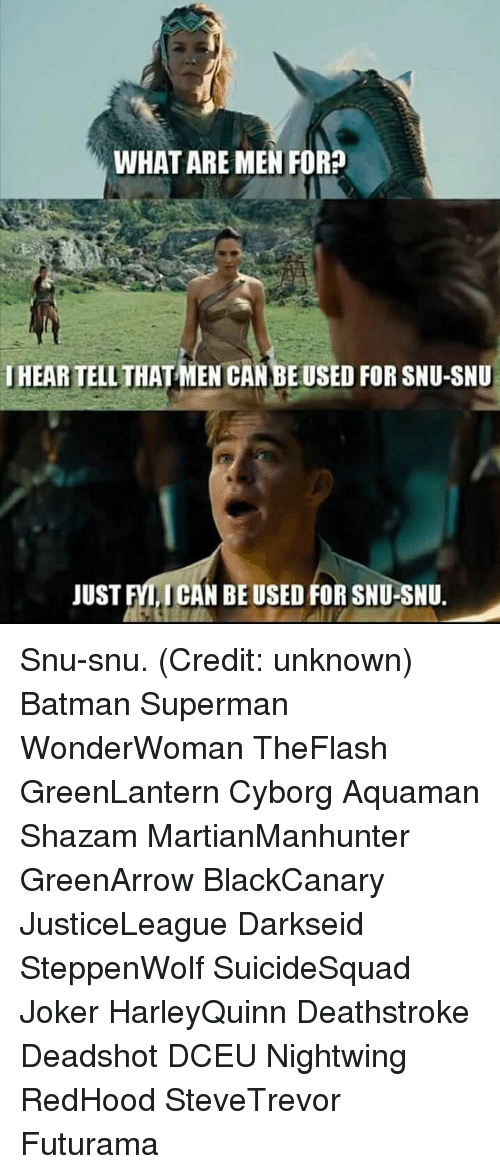 Batman, Joker, and Memes: WHAT ARE MEN FOR?  HEARTELLTHATMEN CANBEUSED FOR SNU-SNU  JUST FYLICAN BE USED FOR SNU-SNU. Snu-snu. (Credit: unknown) Batman Superman WonderWoman TheFlash GreenLantern Cyborg Aquaman Shazam MartianManhunter GreenArrow BlackCanary JusticeLeague Darkseid SteppenWolf SuicideSquad Joker HarleyQuinn Deathstroke Deadshot DCEU Nightwing RedHood SteveTrevor Futurama