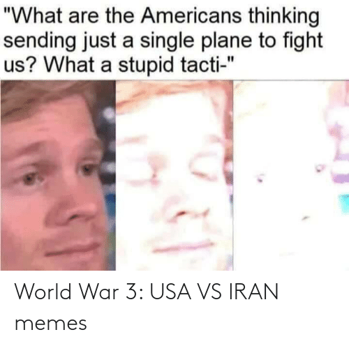 """Memes, Iran, and World: """"What are the Americans thinking  sending just a single plane to fight  us? What a stupid tacti-"""" World War 3: USA VS IRAN memes"""