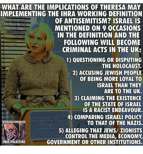 What Are The Implications Of Theresa May Implementing Ihra Anti Semitism Definition Thought