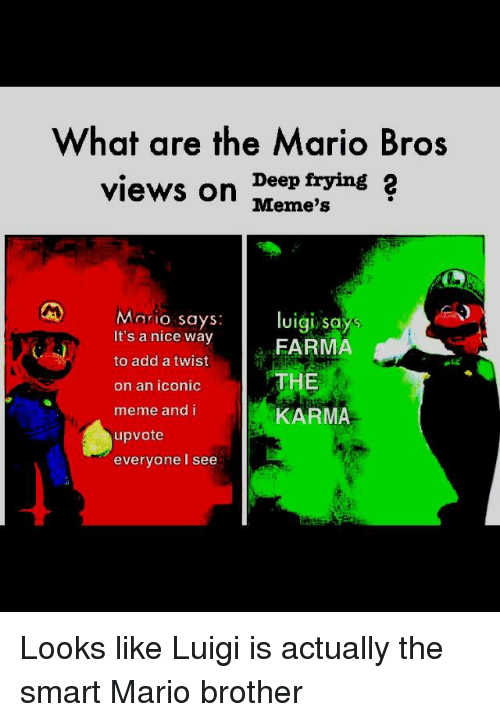 What Are The Mario Bros Views On Deep Frying 2 Meme S Mario