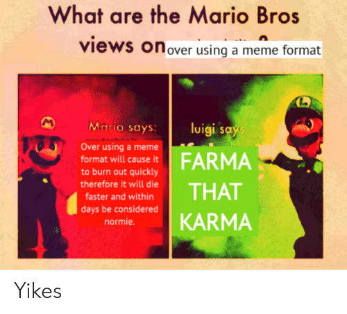 What Are The Mario Bros Views Onover Using A Meme Format
