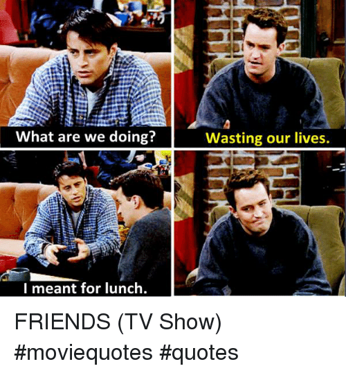 What Are We Doing Wasting Our Lives L Meant For Lunch Friends Tv