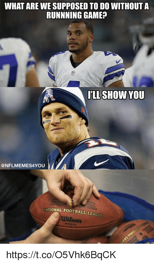 Football, Memes, and Game: WHAT ARE WE SUPPOSED TO DO WITHOUT A  RUNNNING GAME?  LLSHOW YOU  @NFLMEMES4YOU  TIONAL FOOTBALL LEAGUE  Wilson https://t.co/O5Vhk6BqCK