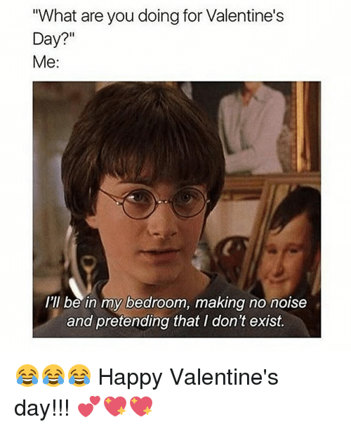 """Memes, 🤖, and Noise: """"What are you doing for Valentine's  Day?""""  Me  I'll be in my bedroom, making no noise  and pretending that I don't exist. 😂😂😂 Happy Valentine's day!!! 💕💖💖"""