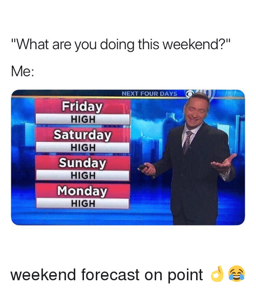 """Friday, Weed, and Forecast: """"What are you doing this weekend?""""  Me:  NEXT FOUR DAYS  Friday  HIGH  Saturday  HIGH  Sunday  HIGH  Monday  HIGH weekend forecast on point 👌😂"""