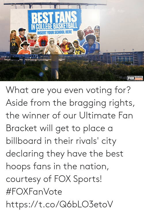 Billboard, Memes, and Sports: What are you even voting for?  Aside from the bragging rights, the winner of our Ultimate Fan Bracket will get to place a billboard in their rivals' city declaring they have the best hoops fans in the nation, courtesy of FOX Sports! #FOXFanVote https://t.co/Q6bLO3etoV