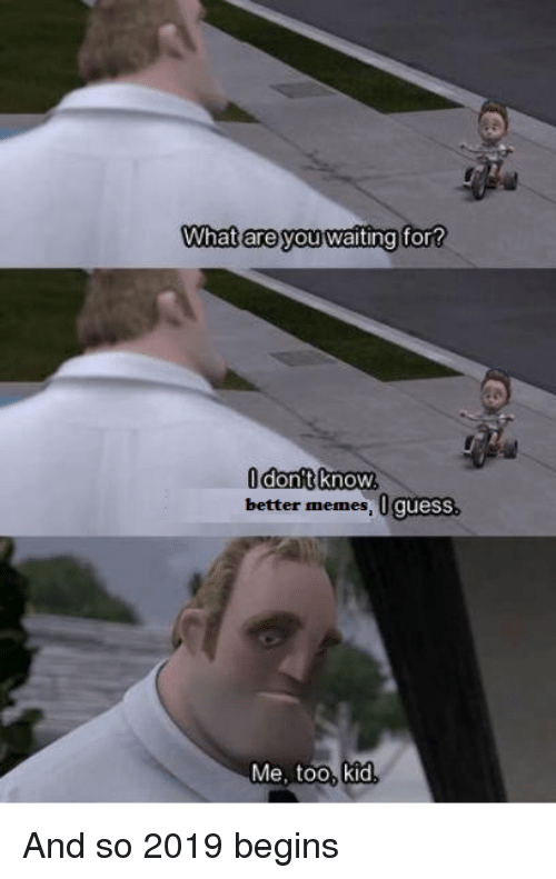 Memes, Guess, and Waiting...: What are you waiting  for  better memes, 0 guess  Me, too, kid And so 2019 begins