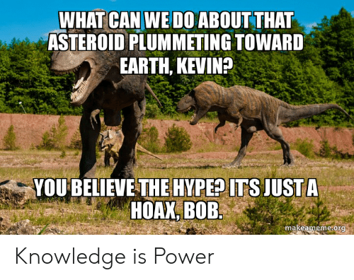 Hype, Earth, and Power: WHAT CAN WE D0 ABOUT THAT  ASTEROID PLUMMETING TOWARD  EARTH, KEVIN?  YOU BELIEVE THE HYPE? ITS JUST A  HOAX, BOB  makeameme.org Knowledge is Power