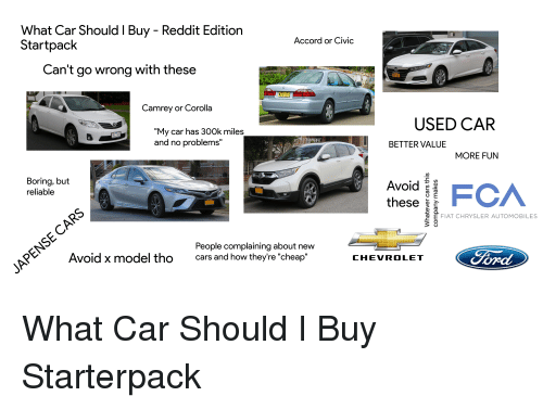 What Car Should I Buy Reddit Edition Startpack Accord Or Civic Can