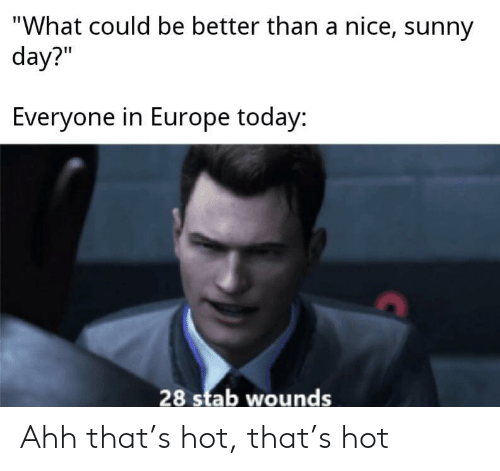 "Europe, Today, and Nice: ""What could be better than a nice, sunny  day?""  Everyone in Europe today:  28 stab wounds Ahh that's hot, that's hot"