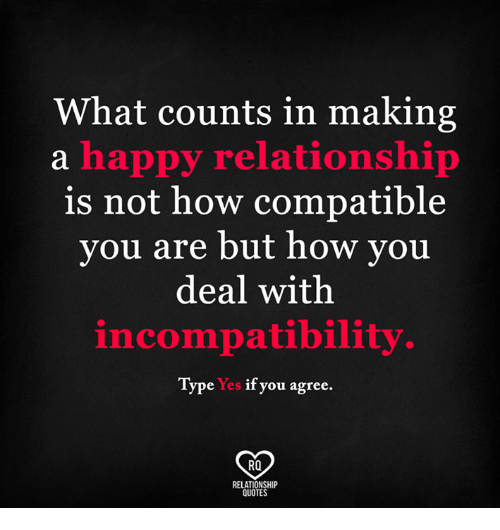 what counts in making a happy relationship is not how compatible