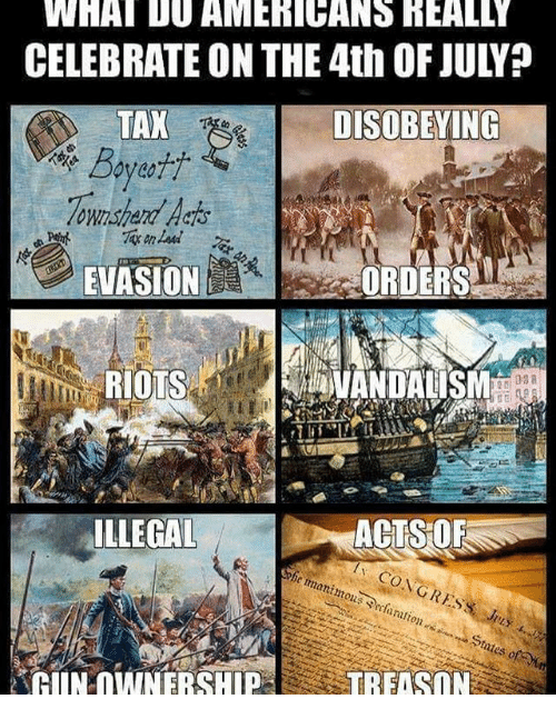 Memes, 4th of July, and 🤖: WHAT D0 AMERICANS REALLY  CELEBRATE ON THE 4th OF JULY?  TAX  Boyet  ownshend Harts  DISOBEYING  EVASION  RIOTS  10匹!  ILLEGAL  ACTSOR  ration  AUNOWNERSHIP  TREISON