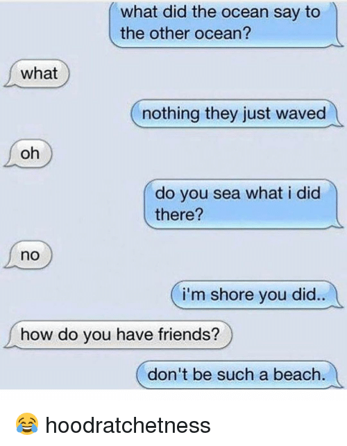 What did the ocean say to the other ocean