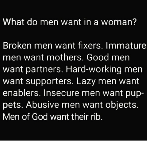 What does men want from women