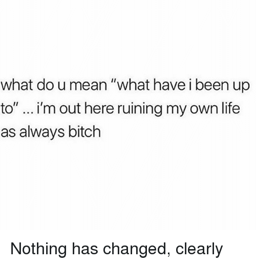 """Bitch, Life, and Mean: what do u mean """"what have i been up  to"""" i'm out here ruining my own life  as always bitch Nothing has changed, clearly"""