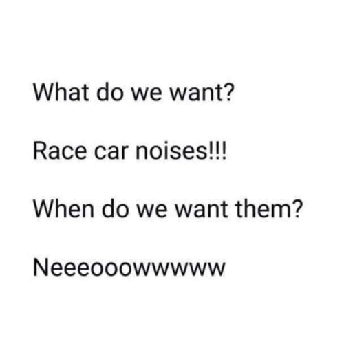 What Do We Want? Race Car Noises!!! When Do We Want Them